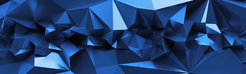 Naklejka3d render, abstract blue crystal background, faceted texture, macro panorama, wide panoramic polygonal wallpaper