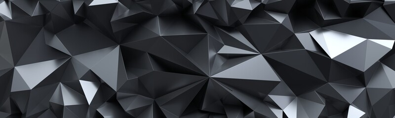 3d render, abstract black crystal background, faceted texture, macro panorama...