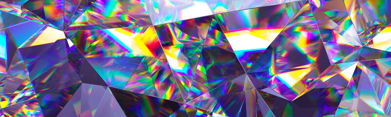 Panel Szklany Podświetlane Do gastronomi 3d render, abstract crystal background, iridescent texture, macro panorama, faceted gem, wide panoramic polygonal wallpaper