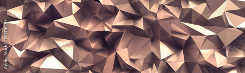 Fototapeta 3d render, abstract rose gold crystal background, faceted copper metallic texture, macro panorama, wide panoramic polygonal wallpaper obraz