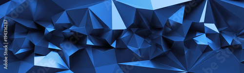 3d Render Abstract Blue Crystal Background Faceted Texture Macro