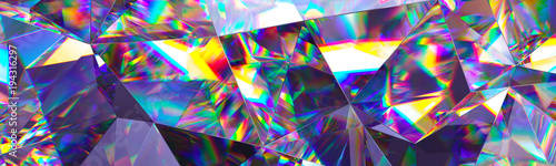 Fototapeta 3d render, abstract crystal background, iridescent texture, macro panorama, faceted gem, wide panoramic polygonal wallpaper obraz
