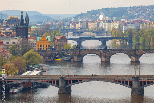 Poster Prague Remarkable view of Prague bridges over Vltava river. Daytime, spring season.