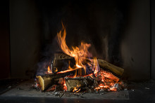Fire Of Wood On A Black Background