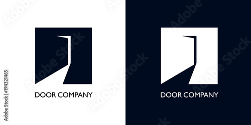 Photo Square with door ajar as crane for logo
