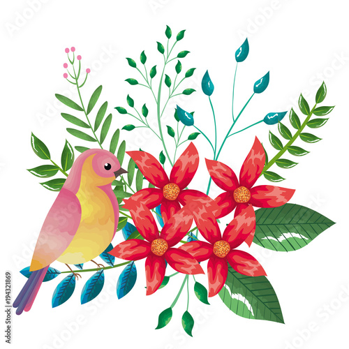 Deurstickers Papegaai floral decoration and bird vintage style vector illustration design