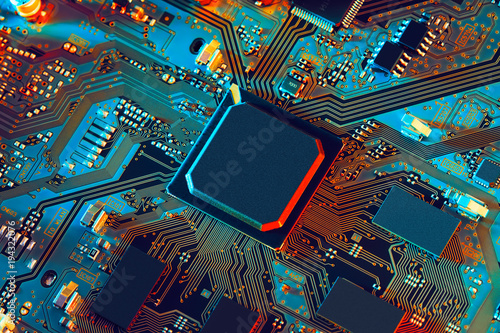 Fotografiet  Electronic circuit board close up.