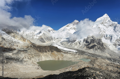 Plakat Changtse, Everest i Nuptse z Kalapattar, 5545m