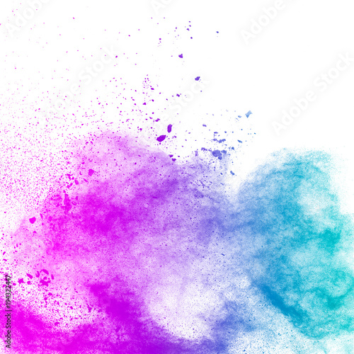 Abstract Explosion Of Blue Purple Dust On White Background