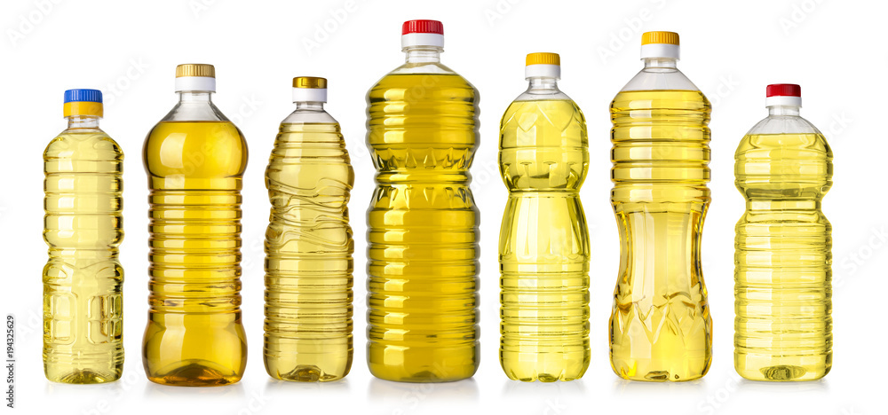 Fototapeta vegetable or sunflower oil in plastic bottle
