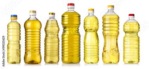 Fototapeta vegetable or sunflower oil in plastic bottle obraz