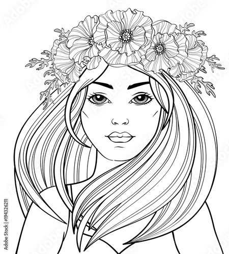 Young beautiful girl with long hair in poppy wreath. Tattoo ...