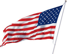 Vector Image Of An American Flag Waving In The Wind On A Flagpole
