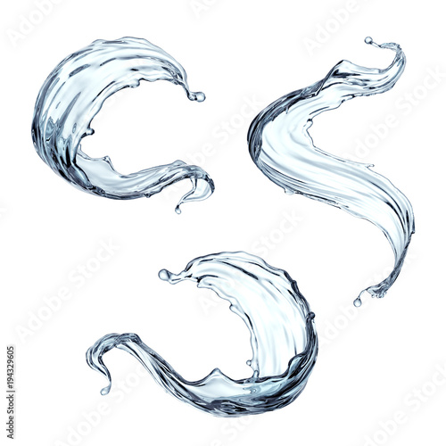 Photo 3d render, clean and clear water splash, wave, pure liquid clip art, isolated on