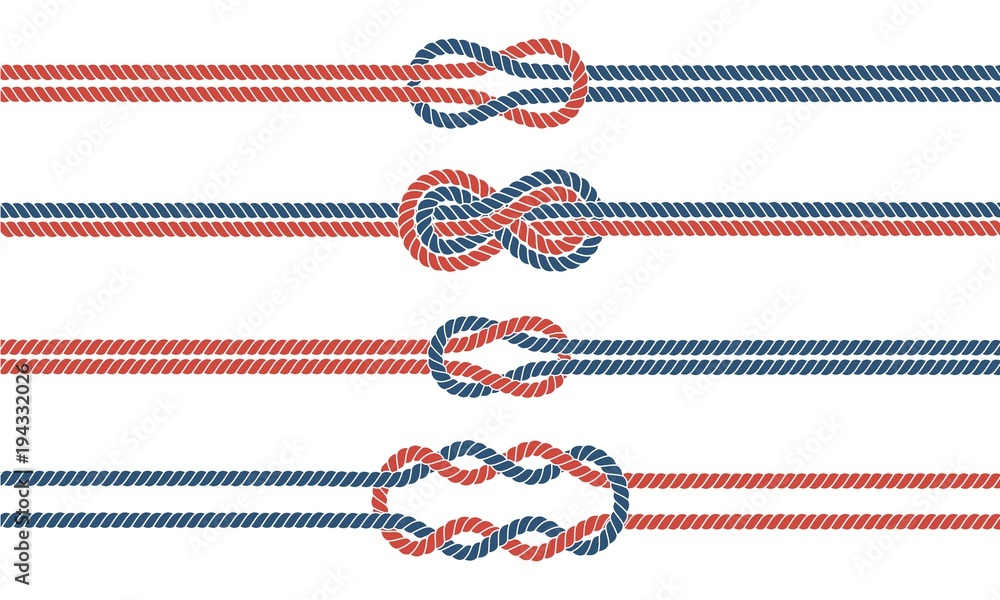 Fototapeta Sailor knot and rope dividers and borders set
