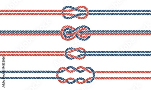 Obraz Sailor knot and rope dividers and borders set - fototapety do salonu