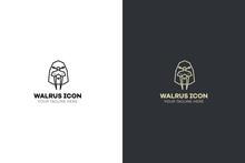Stylized Geometric Walrus Head...