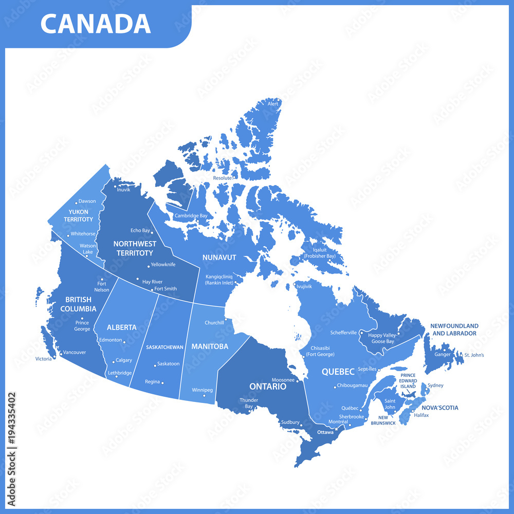 The Detailed Map Of The Canada With Regions Or States And