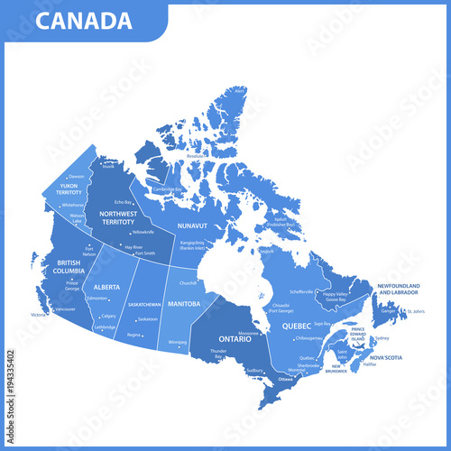 The detailed map of the Canada with regions or states and ...