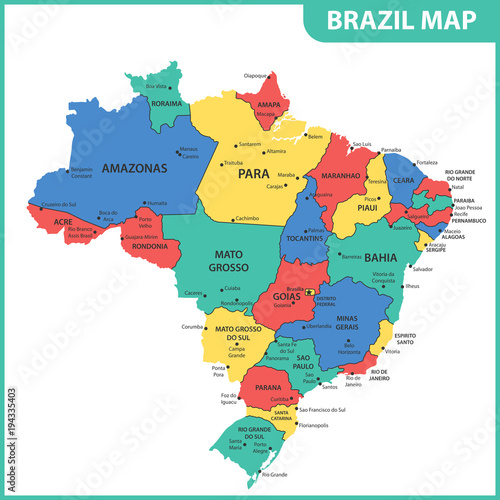 Photo  The detailed map of the Brazil with regions or states and cities, capitals