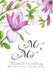 Template for congratulations or invitations to the wedding in green and pink colors. Illustration by markers, beautiful composition of magnolias and twigs with leaves.