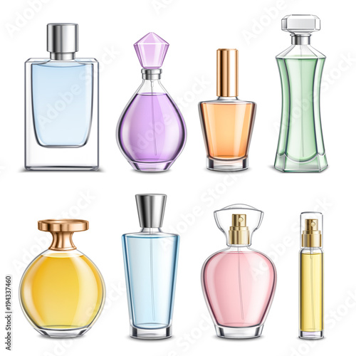 Fotografía  Perfume Glass Bottles Colorful Realistic
