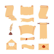 Old Paper Scroll Vector Set. R...