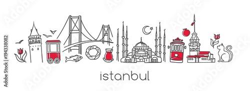 Fotografia  Vector modern illustration Istanbul with hand drawn doodle turkish symbols