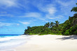 beautiful paradise beach,white sand,turquoise water,palms, seychelles