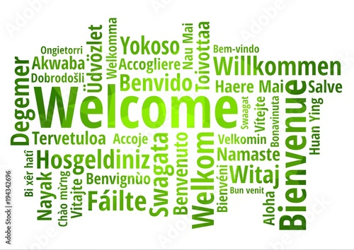 Fotografie, Tablou  WELCOME word cloud in different languages, concept green low poly background