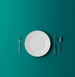 canvas print picture - Empty plate, fork and knife isolated on blue dreen background. 3d illustration