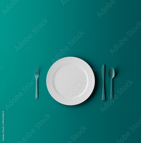 Empty plate, fork and knife isolated on blue dreen background. 3d illustration Wall mural
