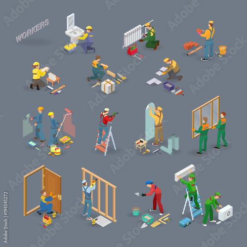 Fotografía  Home repair isometric icons set with workers, tools.