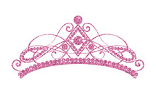 Glittering Diadem. Pink Tiara Isolated On White Background.