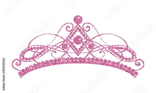 Fotografie, Obraz  Glittering Diadem. Pink tiara isolated on white background.