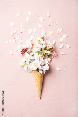 Flat-lay of waffle sweet cone with white almond blossom flowers over pastel light pink background, top view. Spring or summer mood concept