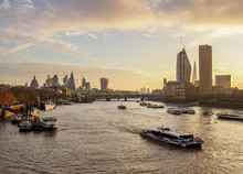 View Over River Thames Towards Southwark And City Of London At Sunrise, London, England, United Kingdom