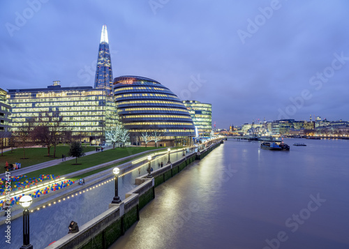 Modern Architecture by the Queens Walk and The Shard at twilight, London, England, United Kingdom