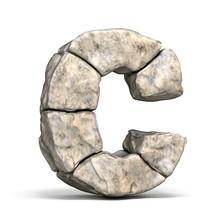 Stone Font Letter C 3D