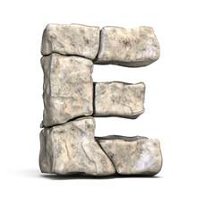 Stone Font Letter E 3D
