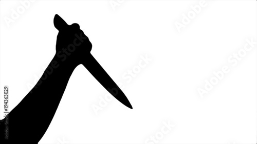 Black silhouette of a beating knife in hand on a white background Canvas Print