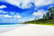beautiful paradise beach on the seychelles, petite anse, la digue