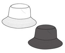 Bucket Hat  Fashion Flat Techn...