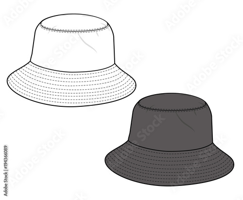 bucket hat fashion flat technical drawing template buy this stock