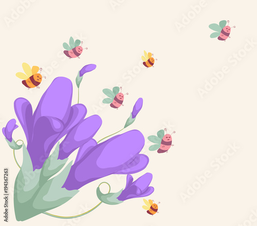 Tuinposter Vlinders background for design with spring flowers
