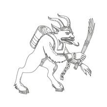 Krampus With Stick Doodle Art
