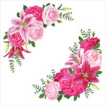 Floral Frame With Pink Rose Fl...