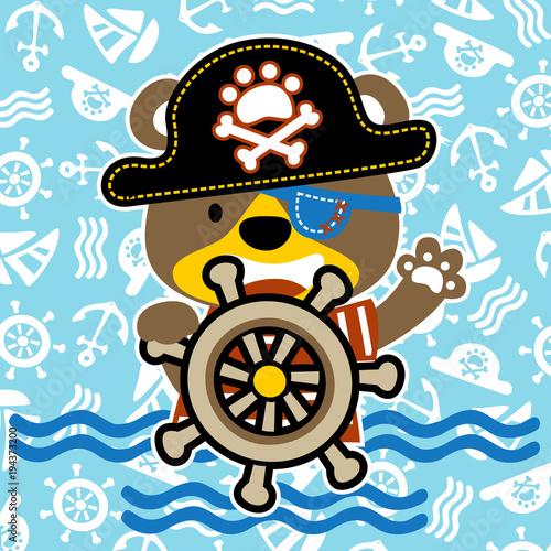 Happy pirate cartoon on sailing equipment pattern Wallpaper Mural