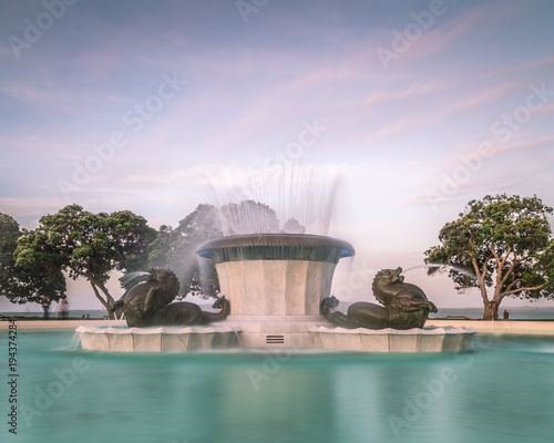 Long Exposure of Mission Bay Fountain on a Beautiful Summers Evening in Auckland New Zealand
