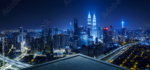 Open space balcony with Kuala Lumpur cityscape skyline view  . Night scene . - 194376042